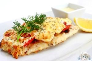 Рыба с сыром и грибами
