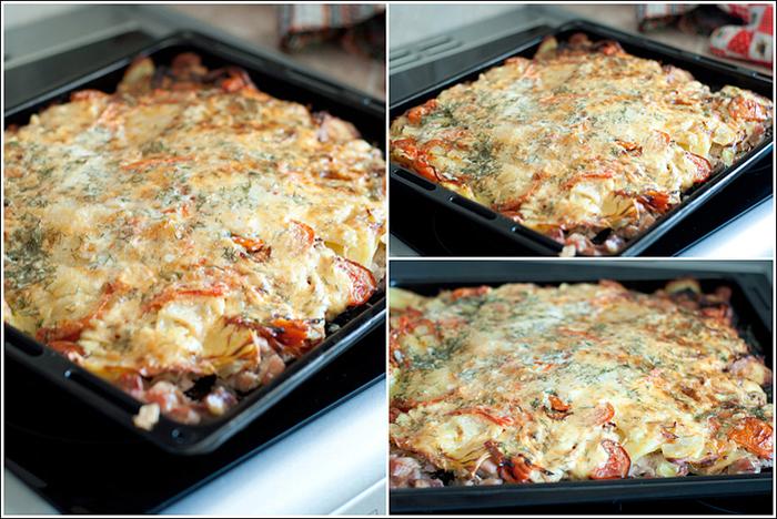 Свинина с картошкой и сыром в духовке пошаговое