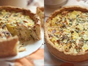 Пирог с картошкой и курицей приготовленный в духовке
