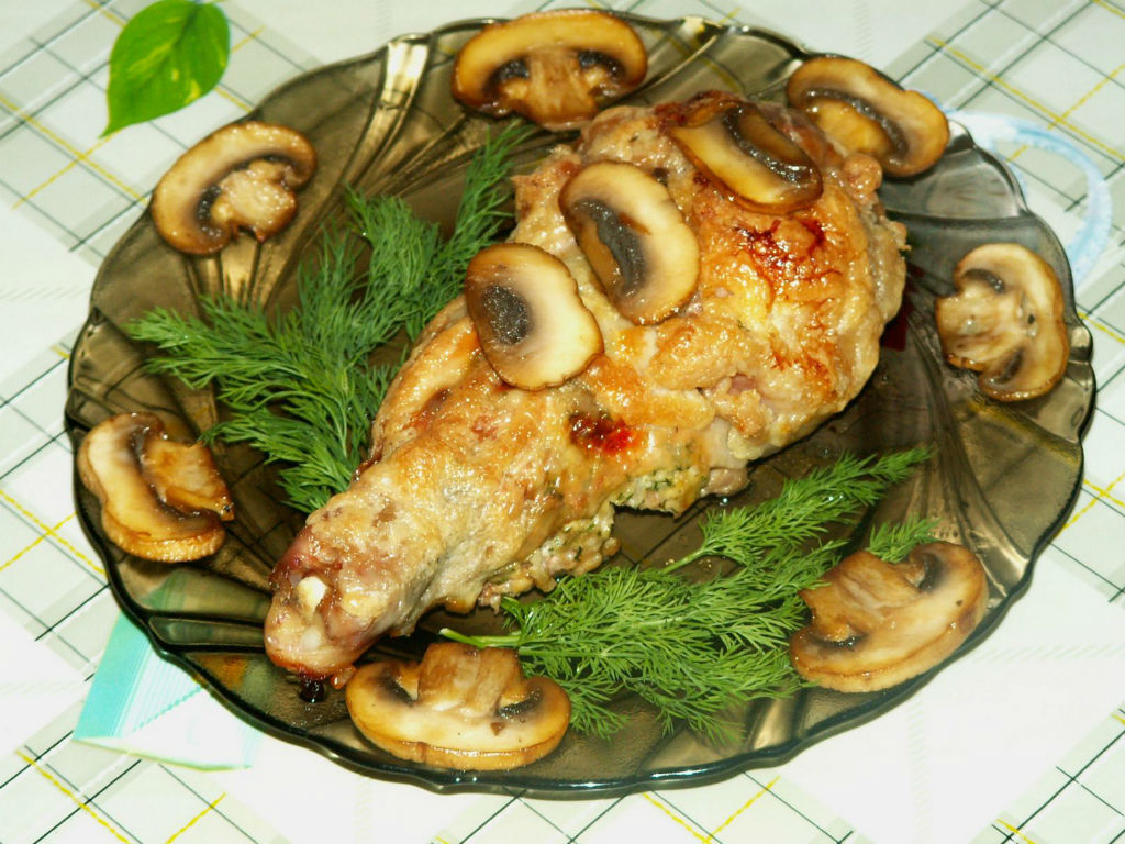 рецепт окорочка грибами фото