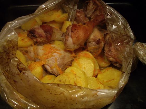 Курица с картошкой в пакете для запекания в духовке рецепт с фото пошагово