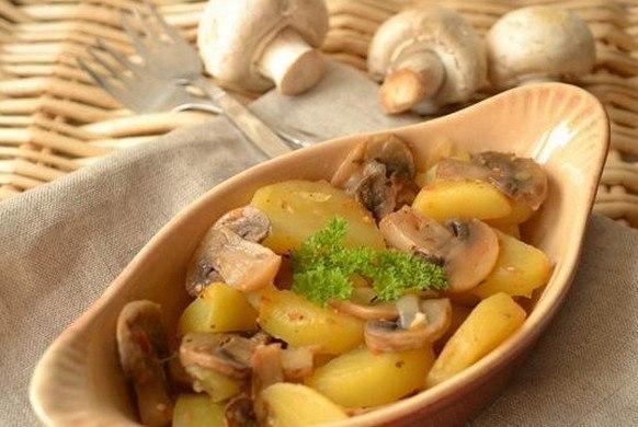 Грибы и картофель в духовке в рукаве рецепт