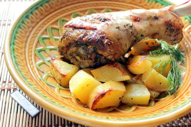 Индейка с картошкой по-французски в духовке рецепт