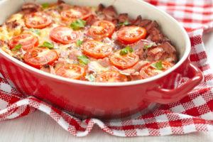 овощная запеканка с сосисками