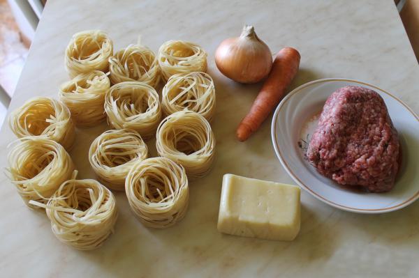 рецепт с фото макароны гнезда фаршированные в духовке