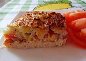 картофель с помидорами и мясом