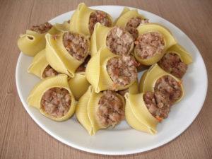 Рецепт ракушек с фаршем в духовке